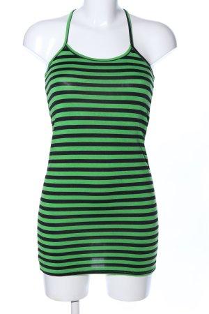 Zara Basic Spaghettiträger Top schwarz-grün Streifenmuster Casual-Look