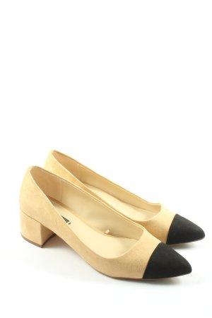 Zara Basic Spitz-Pumps creme-schwarz Business-Look