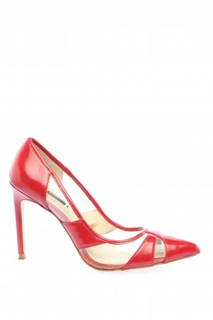Zara Basic Pointed Toe Pumps red business style