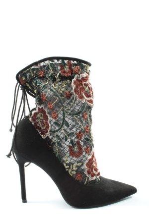 Zara Basic Spitz-Pumps schwarz Blumenmuster Elegant