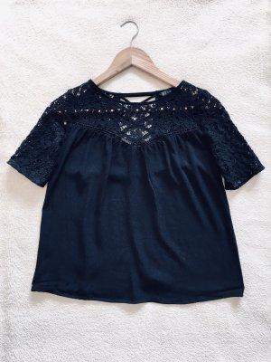 Zara Basic Spitzen Cut-out Shirt Bluse schwarz Gr. XS