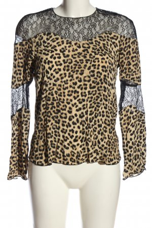 Zara Basic Spitzenbluse creme-schwarz Leomuster Elegant