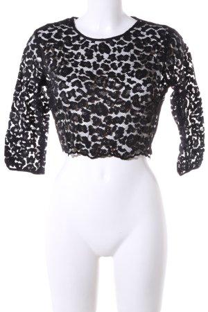 Zara Basic Spitzenbluse schwarz Casual-Look