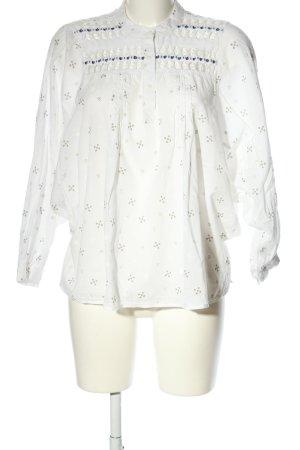 Zara Basic Spitzenbluse weiß-hellgrau Allover-Druck Casual-Look