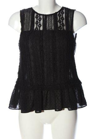 Zara Basic Spitzenbluse schwarz Elegant