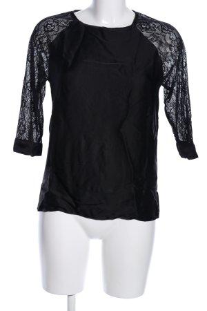 Zara Basic Spitzenbluse schwarz Blumenmuster Casual-Look