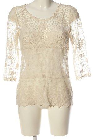 Zara Basic Spitzenbluse creme Casual-Look