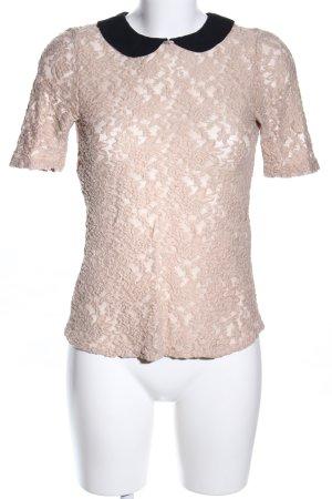 Zara Basic Spitzenbluse creme-schwarz Blumenmuster Casual-Look
