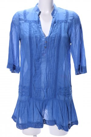 Zara Basic Spitzenbluse blau Casual-Look