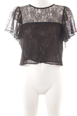 Zara Basic Spitzenbluse schwarz