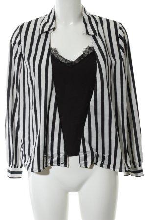 Zara Basic Spitzenbluse schwarz-weiß Streifenmuster Business-Look