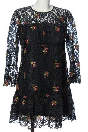 Zara Basic Spitzenkleid schwarz Blumenmuster Elegant