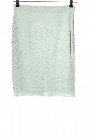 Zara Basic Falda de encaje turquesa-blanco look casual