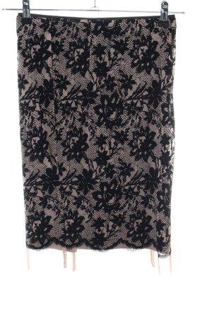 Zara Basic Gonna di pizzo nero-crema motivo floreale elegante
