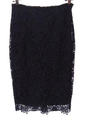 Zara Basic Falda de encaje azul oscuro elegante