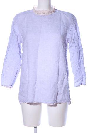 Zara Basic Blouse à col montant bleu moucheté style décontracté