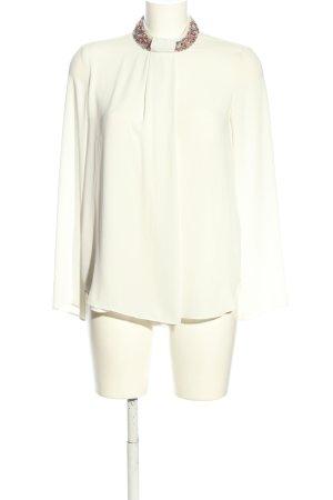 Zara Basic Blouse à col montant crème style d'affaires