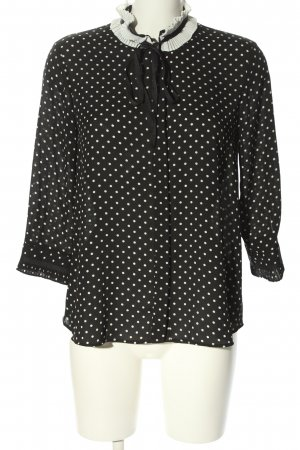 Zara Basic Stand-Up Collar Blouse black-white spot pattern casual look