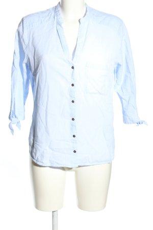 Zara Basic Blusa con collo alla coreana blu stile professionale