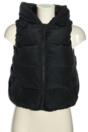 Zara Basic Gewatteerd vest zwart quilten patroon casual uitstraling
