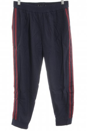 Zara Basic Stoffhose blau-rot Casual-Look