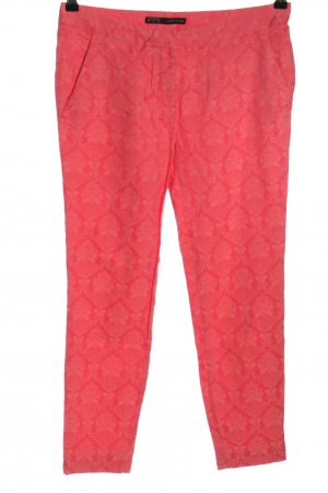 Zara Basic Stoffhose rot-creme Allover-Druck Casual-Look