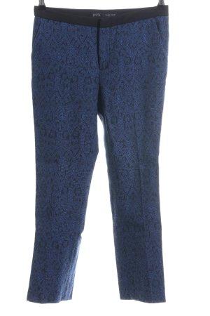 Zara Basic Stoffhose blau-schwarz Allover-Druck Casual-Look