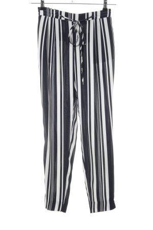 Zara Basic Stoffhose schwarz-weiß Streifenmuster Casual-Look