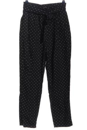 Zara Basic Stoffhose schwarz-weiß Punktemuster Casual-Look