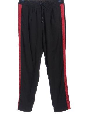 Zara Basic Stoffhose schwarz-rot Streifenmuster Casual-Look