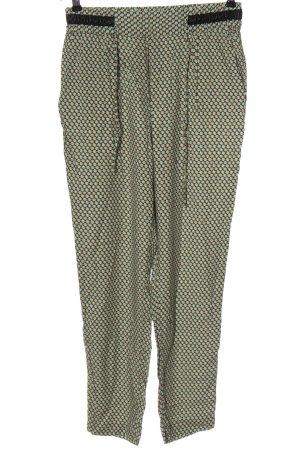 Zara Basic Stoffhose grün-nude Allover-Druck Casual-Look