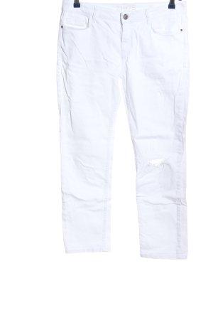 Zara Basic Jeansy z prostymi nogawkami biały W stylu casual