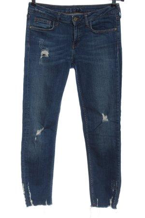 Zara Basic Jeansy z prostymi nogawkami niebieski W stylu casual