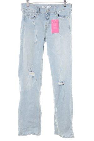 Zara Basic Straight-Leg Jeans hellblau Casual-Look