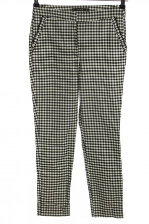 Zara Basic Stretch Trousers black-natural white check pattern business style