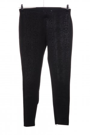 Zara Basic Stretchhose schwarz Animalmuster Casual-Look