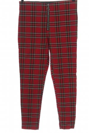 Zara Basic Stretch Trousers red-black check pattern casual look