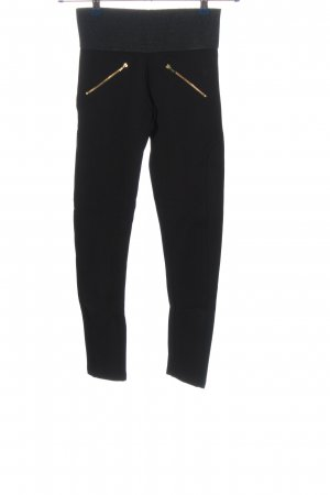 Zara Basic Stretchhose schwarz-goldfarben Casual-Look