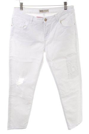 Zara Basic Stretch Trousers white Logo application
