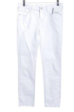 Zara Basic Stretch Trousers white athletic style