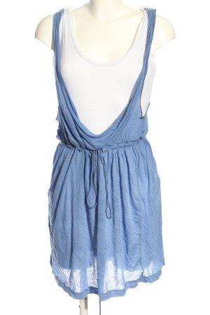 Zara Basic Stretchkleid blau-wollweiß Casual-Look