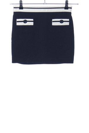 Zara Basic Spódnica ze stretchu czarny-biały Wzór w paski W stylu casual