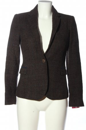 Zara Basic Strickblazer braun-hellgrau Karomuster Business-Look