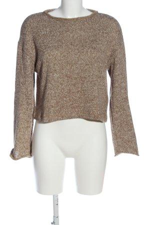 Zara Basic Strickpullover braun-wollweiß meliert Casual-Look