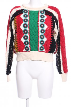 Zara Basic Strickpullover mehrfarbig Vintage-Look
