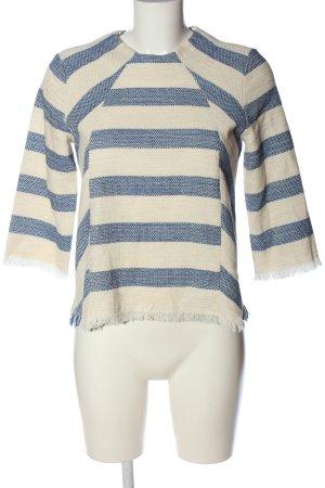 Zara Basic Strickpullover wollweiß-blau Allover-Druck Casual-Look