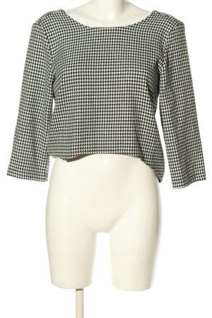 Zara Basic Strickshirt schwarz-weiß Webmuster Casual-Look