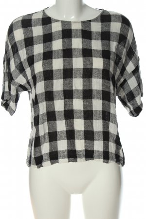 Zara Basic Strickshirt wollweiß-schwarz Karomuster Casual-Look