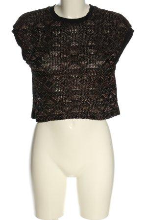 Zara Basic Strickshirt braun Allover-Druck Casual-Look