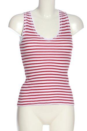 Zara Basic Stricktop weiß-rot Streifenmuster Casual-Look